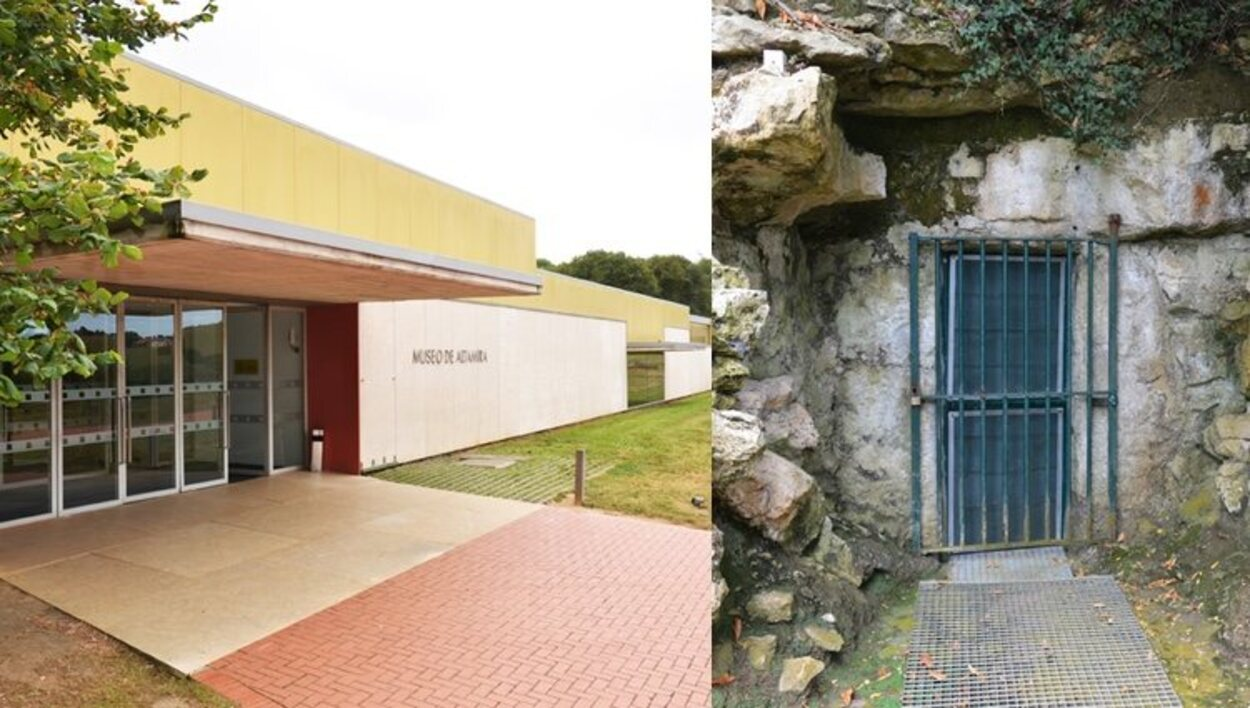 A la izquierda, la entrada al Museo, a la derecha, la entrada a la cueva original