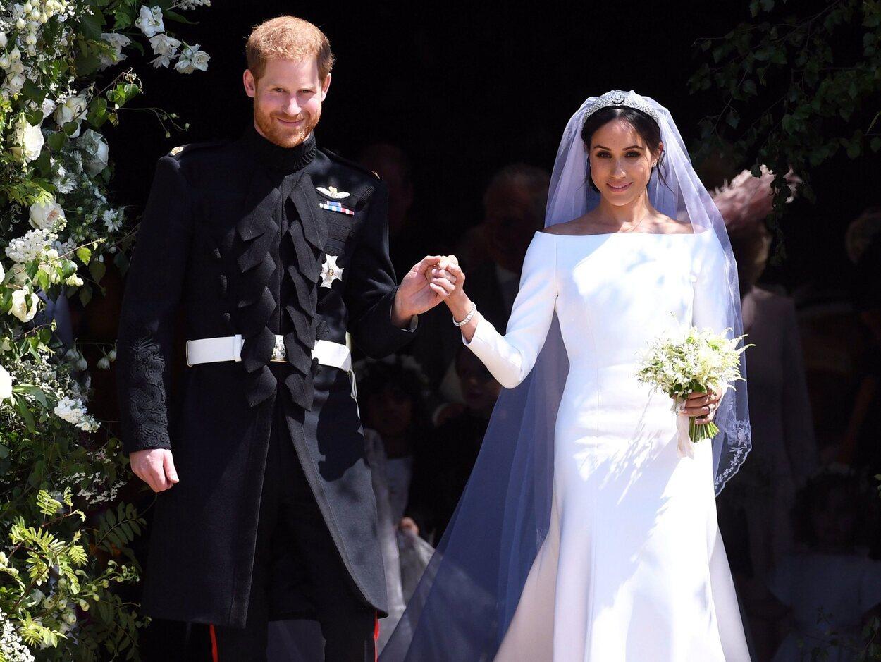 El Príncipe Harry y Meghan Markle el día de su boda en la Capilla de St George de Windsor Castle