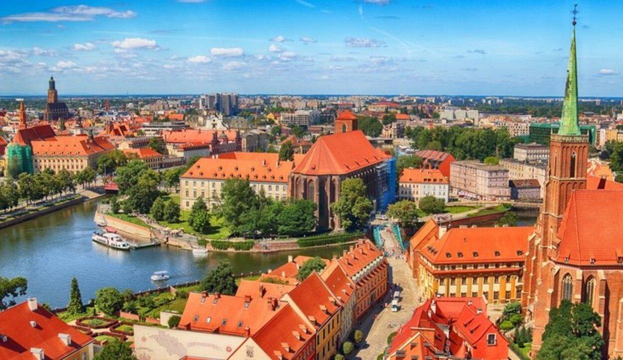 Las vistas de la ciudad desde una de las torres de la Catedral de Wroclaw