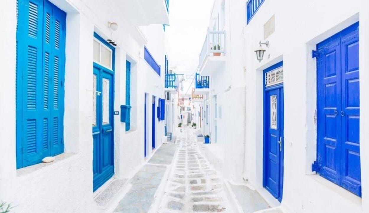 Una de las calles de Mykonos Town