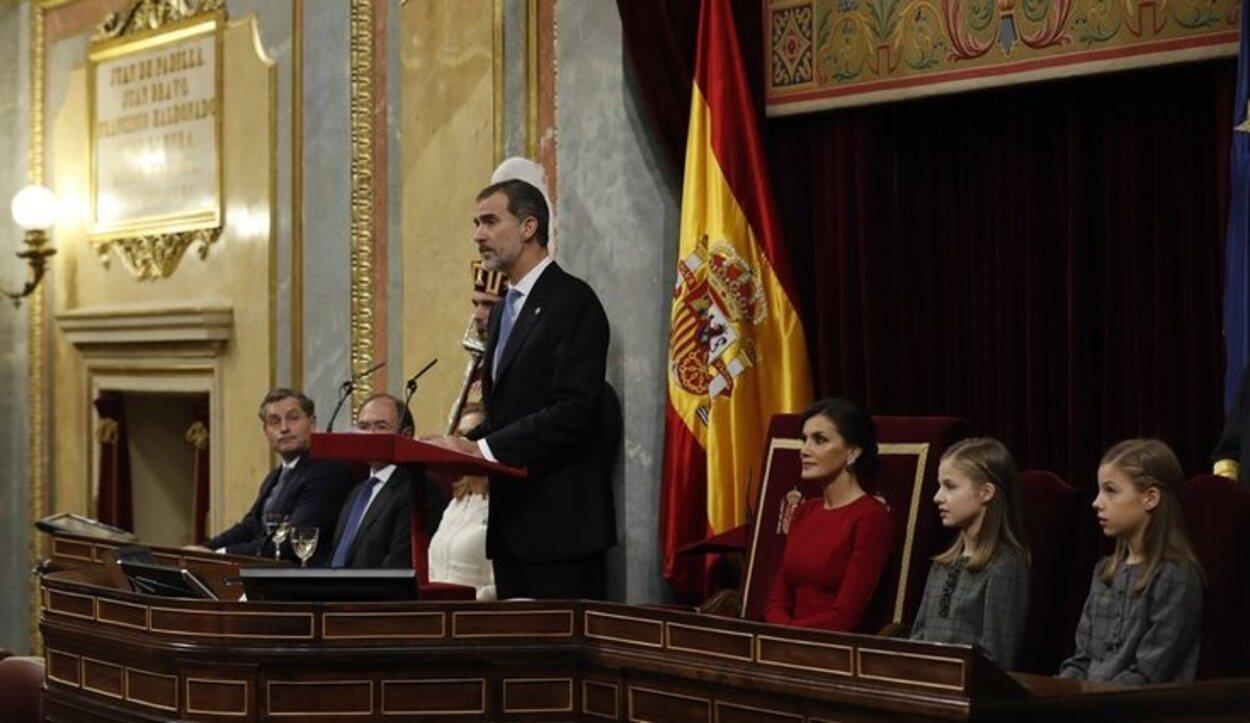 El Rey Felipe durante su discurso por el 40 aniversario de la Constitución</p><p>