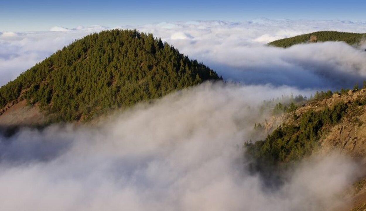 Las nubes quedan por debajo y los vientos aliseos consiguen que parezca que hay un mar de nubes a nuestros pies