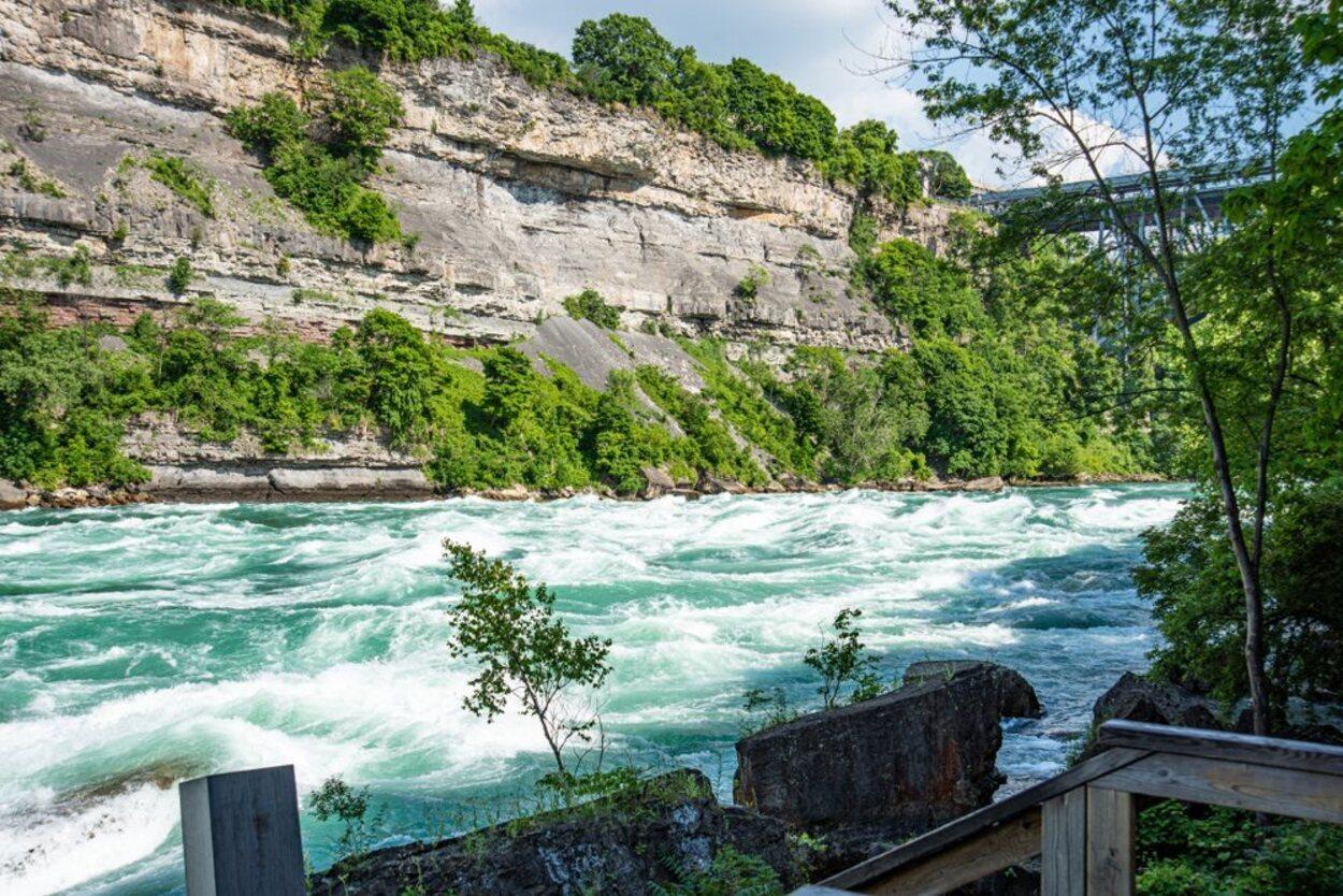 En la atracción White Water Walk se camina por la orilla del río
