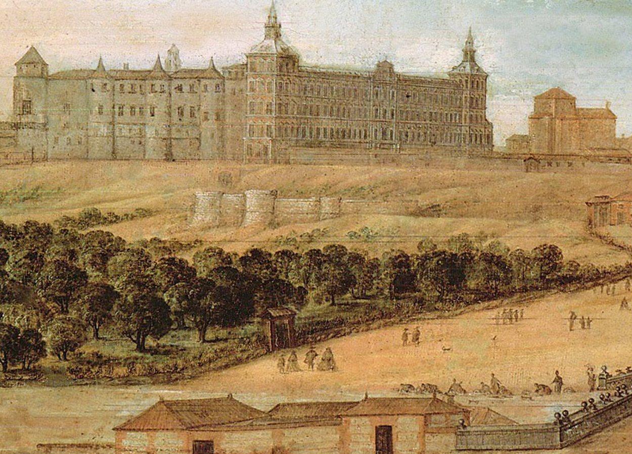 Pintura que representa al Real Alcázar de Madrid
